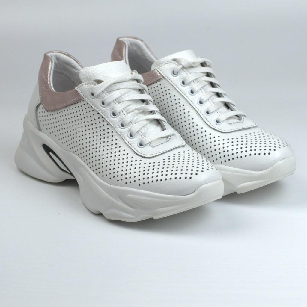 Кроссовки кожаные белые перфорация женская летняя обувь на платформе Rosso Avangard Mozza White&CreamPerf
