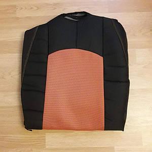 Авточехлы в комплекте две штуки на передние сиденья с двумя подголовниками оранжевый с черным