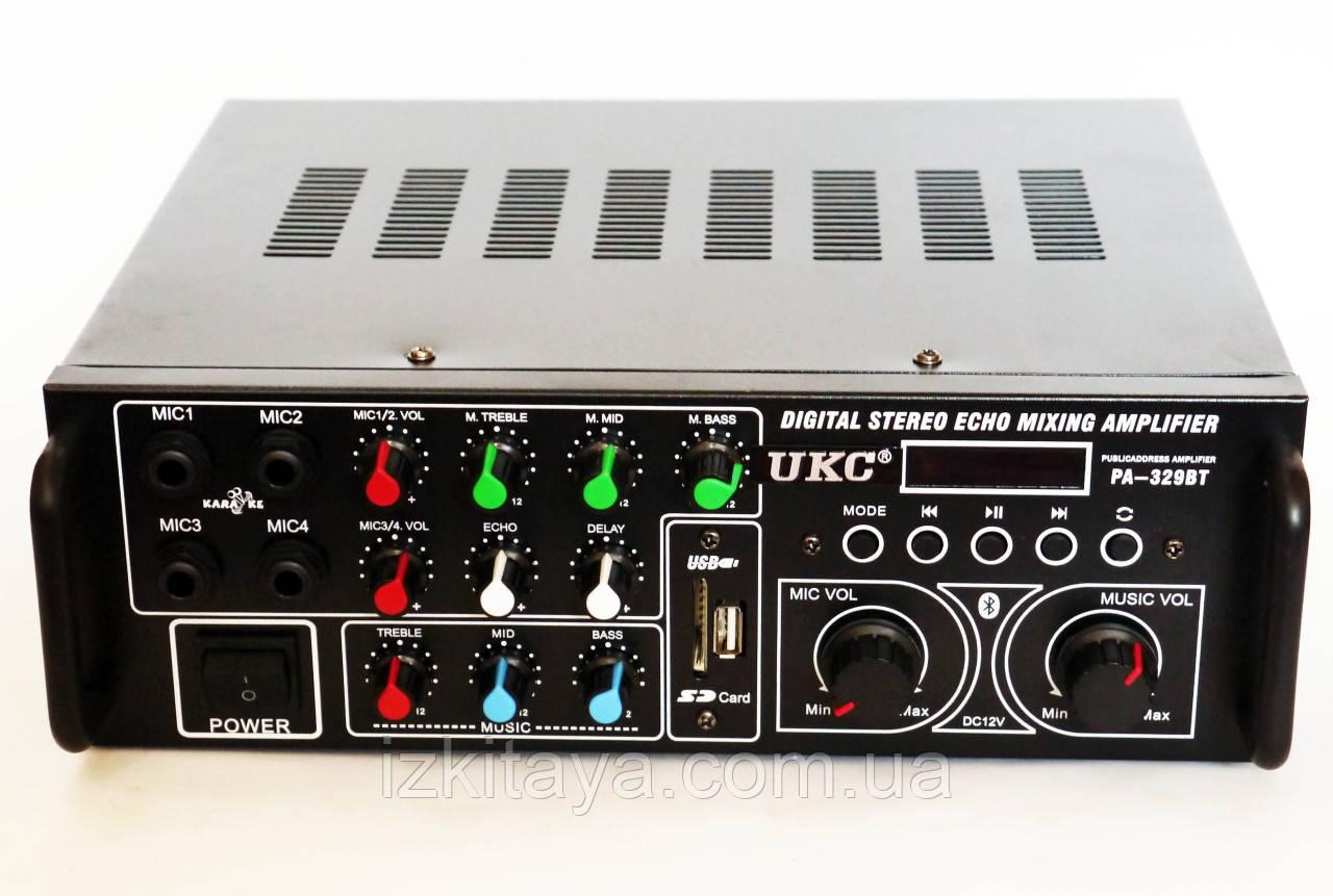 Профессиональный усилитель звука UKC AV-329BT Караоке 4 микрофона