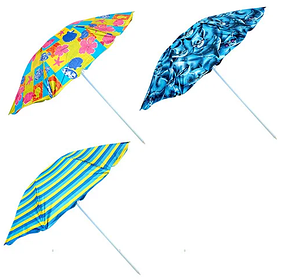 Зонт пляжный диаметр 2.4 м, серебрянное напыление, разные расцветки, металл, в чехле, зонтик пляжный, зонт для