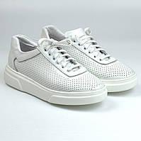 Кроссовки кожаные белые перфорация летняя женская обувь на платформе Rosso Avangard Mozza White Star Perf