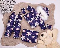 Зимний детский комбинезон тройка для девочки с цветочным принтом 0-2 года