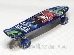Пенниборд (скейтборд) колёса PU Светятся Profi MS 0749 - 5 (синий)