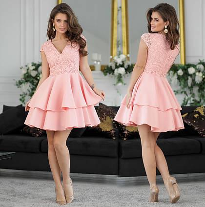 """Нарядное женское короткое платье 351 """"Гипюр Вышивка Креп Воланы"""" в расцветках"""