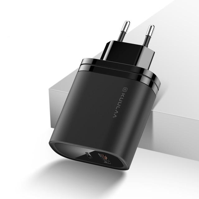 Зарядное KUULAA Quick Charger 3.0 Type-C+USB 36W EU black