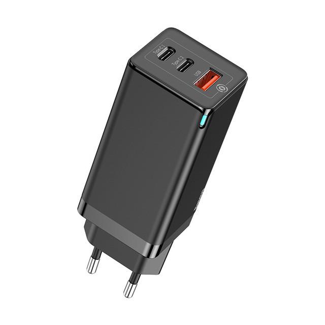 Зарядное Baseus GaN Mini QC Travel Charger 2xType-C+USB 65W EU black