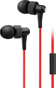 Вакуумные наушники с микрофоном Red-black OEM