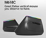 Бездротова безшумна вертикальна миша з підсвічуванням Delux M618C RGB Black White, фото 4