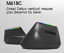 Бездротова безшумна вертикальна миша з підсвічуванням Delux M618C RGB Black