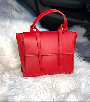 Элегантная женская сумка-трапеция из экокожи Красная, фото 1