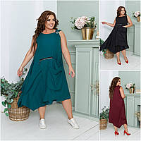 Р 48-60 Летнее свободное платье с накладным карманом Батал 21911, фото 1