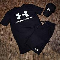 Футболка, шорты и кепка Under Armour, летний спортивный костюм мужской черный