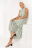 Легкое летнее длинное женское платье с воланом белое с оливковым цветком