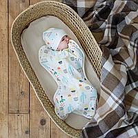 """Евро пеленка кокон для новорожденных на молнии с шапочкой """"Part"""", Кактусы, для деток 0-3 мес."""