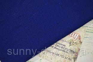 Тканина рівномірного плетіння льон Permin 076/13 колір королівський синій, 28 каунт