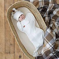 "Безразмерная пеленка ""Каспер"" на молнии с шапочкой, Молочная, фото 1"