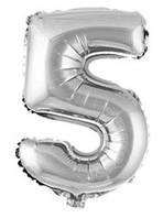 100 см Фольгированный воздушный шар Цифра 5 Серебристый