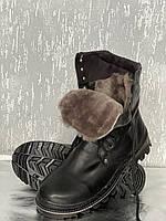 Берцы зимние кожаные  на натуральной  цигейке на клее-прошивной подошве