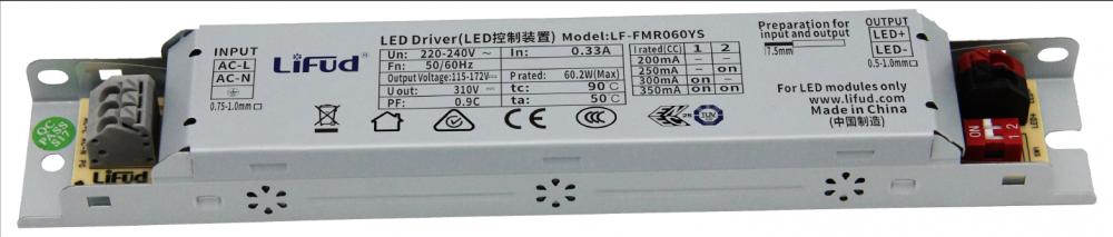 Драйвер світлодіода 350мА 60Вт 115-172вольт блок живлення LF-FMR060YS IP20 12655о