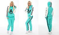 Женский спортивный костюм Adidas бирюзовый с белыми рукавами 42-46