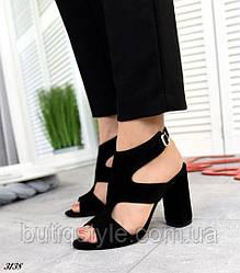 Черные босоножки натуральная замша на высоком каблуке
