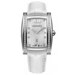 """Часы наручные женские Aerowatch 03952 AA01DIA кварцевые, """"бочка"""", белый кожаный ремешок"""