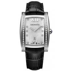 """Часы наручные женские Aerowatch 03952 AA01DIA кварцевые с бриллиантами, """"бочка"""", черный кожаный ремешок"""