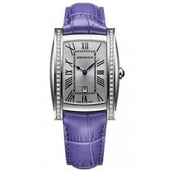 """Часы наручные женские Aerowatch 03952 AA02DIA кварцевые с бриллиантами, """"бочка"""", кожаный сиреневый ремешок"""