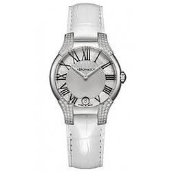 Часы наручные женские Aerowatch 06964 AA03 96DIA кварцевые, 96 бриллиантов, кожаный белый ремешок