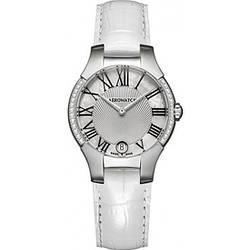 Часы наручные женские Aerowatch 06964 AA03 28DIA кварцевые, 28 бриллиантов, белый кожаный ремешок