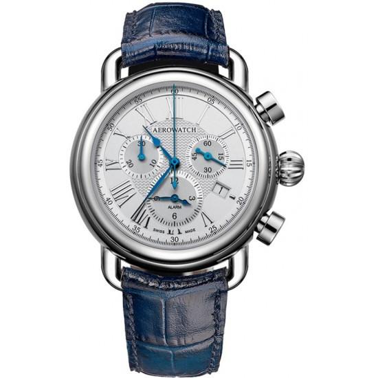Часы-хронограф наручные мужские Aerowatch 85939 AA09 кварцевые, с датой и будильником, синий кожаный ремешок