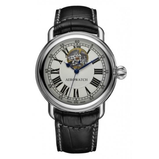 Часы наручные мужские Aerowatch 68900 AA02 механические с автоподзаводом, черный кожаный ремешок