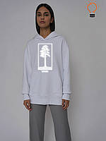 Женская худи электрик с принтом РЕФЛЕКТИВ, стильный женский свитшот, модная женская толстовка с принтом