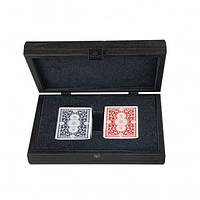 CDE10 Manopoulos Plastic coated playing cards in Dark Grey colour Leatherette wooden case