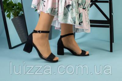 Женские босоножки на каблуке, черный велюр, 35, фото 2