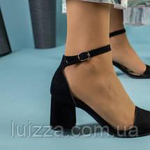 Женские босоножки на каблуке, черный велюр, 35, фото 3