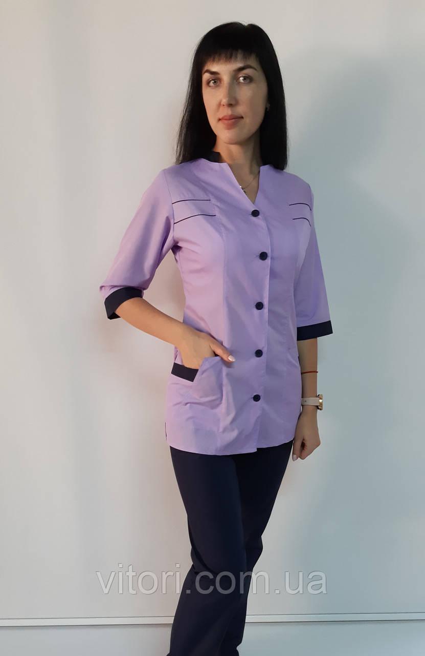 Женский медицинский костюм Оксана рубашечная ткань три четверти рукав 44 размер