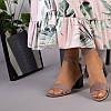 Замшевые босоножки цвета капучино на каблуке, фото 3
