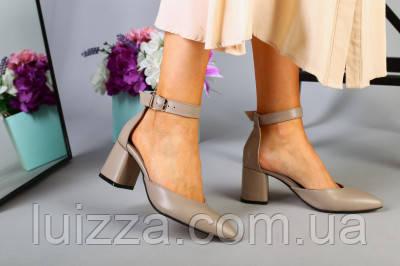 Кожаные босоножки цвета латте, каблук 6 см