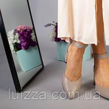 Кожаные босоножки цвета латте, каблук 6 см, фото 2