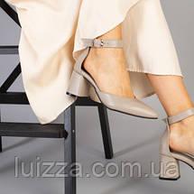Кожаные босоножки цвета латте, каблук 6 см, фото 3