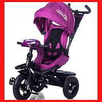 Велосипед трехколесный детский Фиолетовый велосипед- коляска для девочки от 10 мес с пультом и усиленной рамой