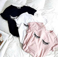 Женская базовая футболка однотонная с минималистичными принтами в размере 42-46