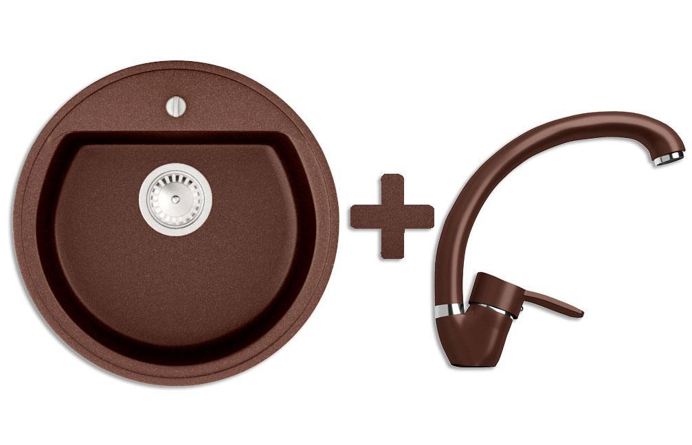 Кухонна мийка VALENTINA Gr Paula коричневий + Кран