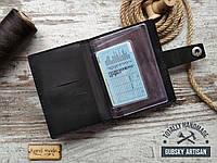 Правник обложка для авто документов и карт, травелкейс чёрный из натуральной кожи ручная работа