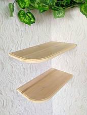 Навісна полиця кутова з дерева від виробника (колір на вибір), фото 2