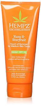 Солнцезащитный лосьон с тонирующим эффектом Hempz Yuzu & Starfruit Self-Tanning Crème Medium SPF 30 200 мл