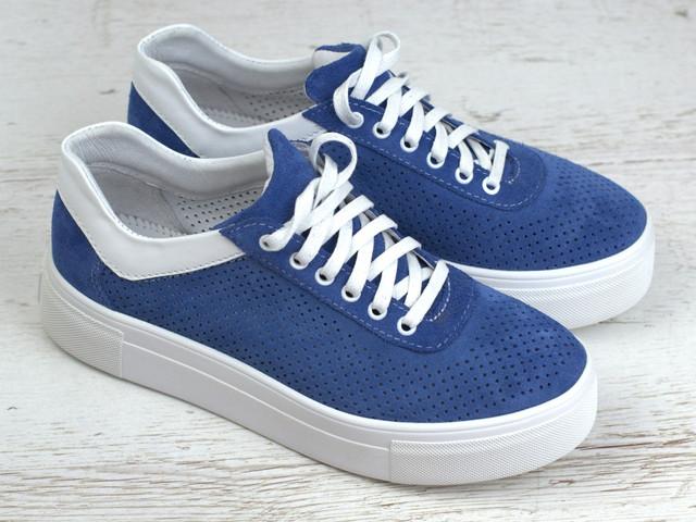 Зручні і легкі кеди замшеві літні сині перфорація жіноче взуття великих розмірів Rosso Avangard Mozza Slip Blu Vel Perf 1211901883