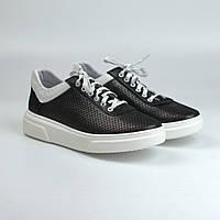 Кросівки-кеди чорні шкіряні літні перфорація жіноче взуття великих розмірів Rosso Avangard Mozza SlipBlackP, фото 1