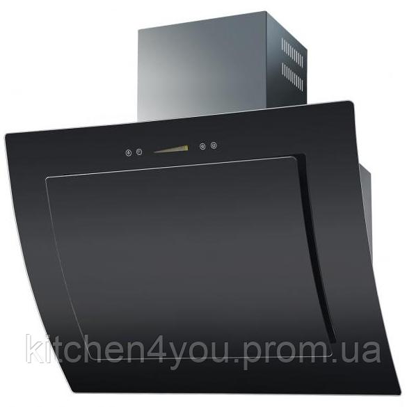 Ventolux Aurora 80 black glass похила кухонна витяжка 800 мм. чорне загартоване скло